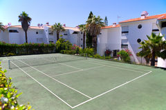 Tennis court in a private resort Royalty Free Stock Images
