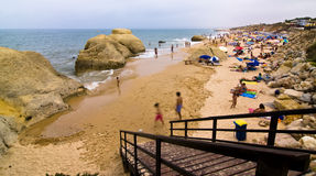 Algarve tourists on the beach. Algarve Gale beach full of tourists Royalty Free Stock Photos