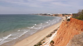 Algarve - Vilamoura coast at Falesia Beach. Seascape stock video