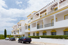 Algarve villas. A view of typical villas by the street in Algarve, Portugal royalty free stock image