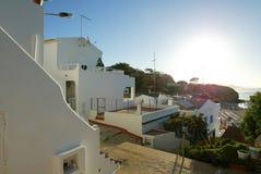 Algarve Zonsopgang Olhos D'agua, Algrave, Portugal Royalty-vrije Stock Foto's