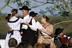 Algarvian folklore. Portuguese folklore group (rancho) performing live royalty free stock images