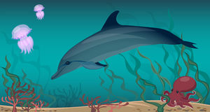 Algas do coral do polvo das medusa do golfinho da vida marinha Parte inferior de Sandy ilustração stock