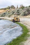 Algas limpias del excavador recogidas de la orilla Fotos de archivo libres de regalías