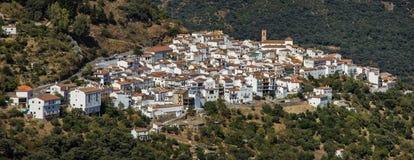Algatocin white village panoramic view, Andalusia, Spain. Royalty Free Stock Photo