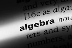 Algebra. Word in a dictionary.  concept royalty free stock photos