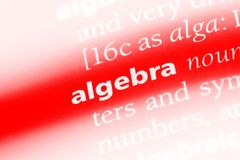 Algebra. Word in a dictionary.  concept royalty free stock photography