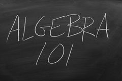 Algebra 101 On A Blackboard. The words `Algebra 101` on a blackboard in chalk stock images