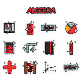 Algebra flat icons set Stock Photo