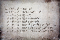 Algebra formula. On grunge background royalty free stock image