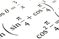 Algebra formulas close up. Close up of a textbook with algebra formulas and problems royalty free stock photo