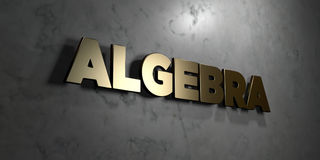 Algebra - Gold sign mounted on glossy marble wall  - 3D rendered royalty free stock illustration. This image can be used for an online website banner ad or a Stock Photos
