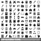 100 algebra icons set, simple style. 100 algebra icons set in simple style for any design vector illustration stock illustration