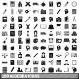 100 algebra ikon ustawiających, prosty styl Obraz Royalty Free