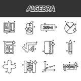 Algebra ikony ustawiać Zdjęcia Royalty Free
