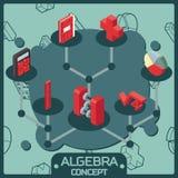 Algebra koloru pojęcia isometric ikony Obrazy Stock