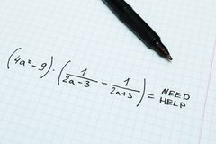 Algebra, need help. Mathematical Notebook.  stock photography