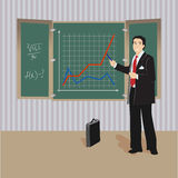 Algebra teacher at blackboard Royalty Free Stock Image