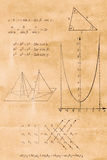 Algebra, trigonometry and geometry formula. On the old paper royalty free stock photos