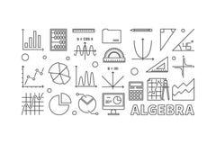 Algebra vector outline illustration or banner. On white background Royalty Free Stock Image