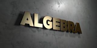 Algebra - złoto znak wspinający się na glansowanej marmur ścianie - 3D odpłacająca się królewskości bezpłatna akcyjna ilustracja Zdjęcia Stock