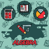 Algebry pojęcia płaskie ikony Obraz Stock