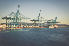 ALGECIRAS, SPAIN - MAY 1,2013: Container terminal in the industr Royalty Free Stock Image