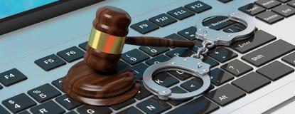 Algemas do metal e martelo do juiz no teclado de computador, ilustração 3d Fotografia de Stock