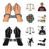 Algemas, escalas de justiça, hacker, cena do crime Ícones ajustados da coleção do crime nos desenhos animados, estoque preto do s ilustração stock