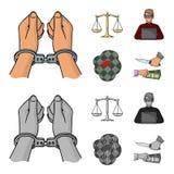 Algemas, escalas de justiça, hacker, cena do crime Ícones ajustados da coleção do crime nos desenhos animados, símbolo monocromát Fotografia de Stock Royalty Free
