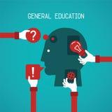 Algemeen onderwijs en creativiteit vectorconcept in vlakke stijl royalty-vrije illustratie