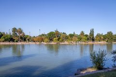 Algemeen San Martin Park Lake - Mendoza, Argentinië Stock Foto