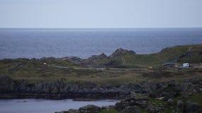Algemeen schot van Star Wars-Film Vastgestelde bouw in Malin Head stock foto's