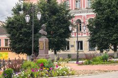 Algemeen Seslavin-gedenkteken in de stad van Rzhev, Tver-gebied, Rusland Stock Foto