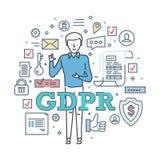 Algemene Gegevensbeschermingverordening GDPR Gewaarborgde veilige bescherming en encryptie royalty-vrije illustratie