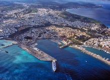 Algemene luchtmening van de oude haven van Rhodes Greece Stock Foto's