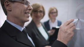 Algemene manager die bedrijfdoelstellingen met teller richten aan boord, bedrijfs planning stock videobeelden