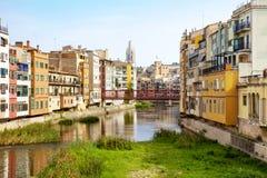 Algemene mening van Girona, Spanje Stock Fotografie