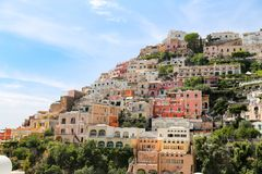 Algemene mening van Positano-Stad in Napels, Italië stock afbeelding
