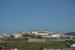 Algemene Meningen van de Ommuurde Stad in Elvas royalty-vrije stock afbeeldingen