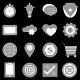 Algemene pictogrammen op achterachtergrond Stock Afbeeldingen