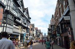 Algemene scène van goed - bekende stad Chester Chester, het UK, 3 Juli, 2015 royalty-vrije stock afbeelding