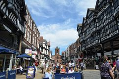Algemene scène van goed - bekende stad Chester Chester, het UK, 3 Juli, 2015 royalty-vrije stock foto's