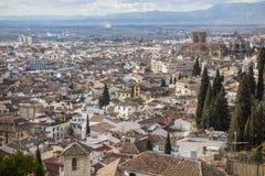 Algemene stadsmening van vooruitzicht in Granada, Spanje royalty-vrije stock afbeelding
