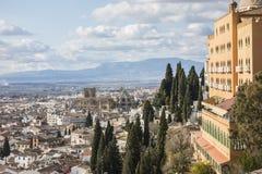 Algemene stadsmening van vooruitzicht in Granada, Spanje royalty-vrije stock fotografie