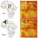 Alger&chad no mapa de África Imagens de Stock Royalty Free