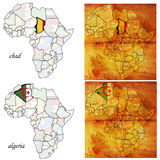 Alger&chad on africa map Royalty Free Stock Images