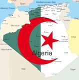 Algeria. Abstract vector color map of Algeria country colored by national flag Stock Photo