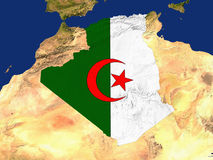 Algeria. Highlighted Satellite Image Of Algeria With The Countries Flag Covering It Royalty Free Stock Image