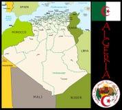 Algeria Administrative divisions. Algeria map flag and coat Stock Photo